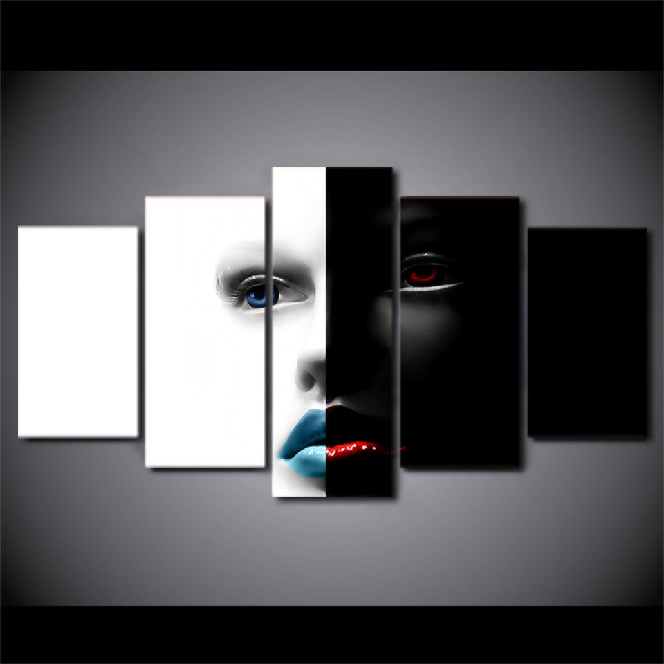 5 Piece Canvas Paintings Abstract Art Face Printed Home Decor Wall Pictures Living Room