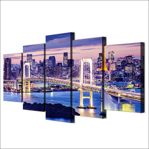 5 Piece Canvas Painting Rainbow Bridge Tokyo Night HD Posters Prints Painting Living Room