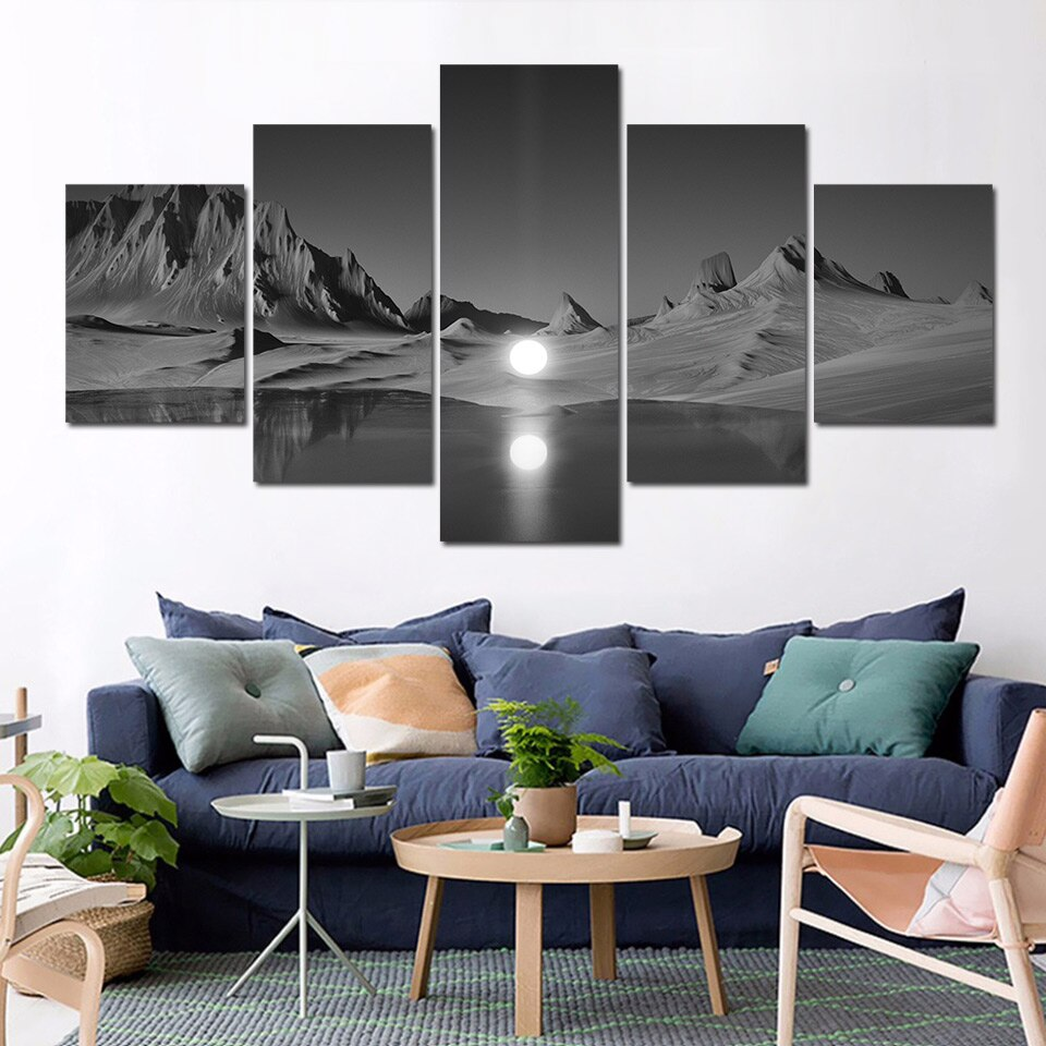 Wall Art Poster Modular Canvas HD Prints Paintings 5 Pieces Full Moon Mountain Pictures Home Decor Living Room
