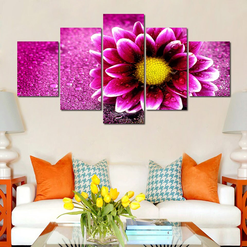 5 Pieces Gorgeous Flower Chrysanthemum Blossom Canvas Prints Painting Wall Art Modular Modern Decorative Paintings