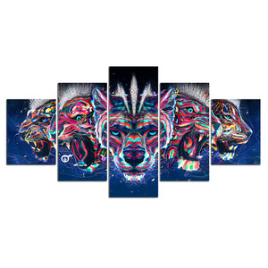 5 Pieces Wolves Tgers and Leopards Beasts Canvas Prints Painting Wall Art Modular Picture Modern Decorative Paintings