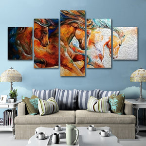 Canvas Print Pictures Wall Art 5 Pieces Horses Horse Steed Animals Painting Poster Modular Home Decor Living Room
