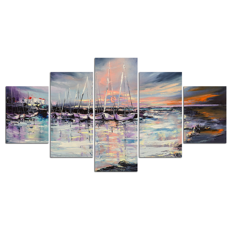 5 Panels Watercolor Sailboats Sea View Canvas Wall Art Picture Home Decoration Living Room Canvas Print Painting