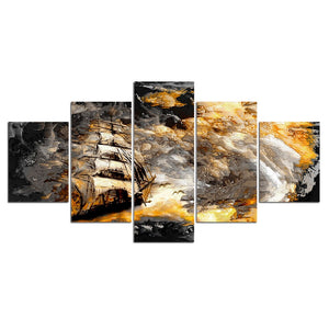 Abstract Canvas Wall Art 5 Panels Sea Storm Posters Prints Sailing Boat in Waves Wall Pictures Living Room Painting