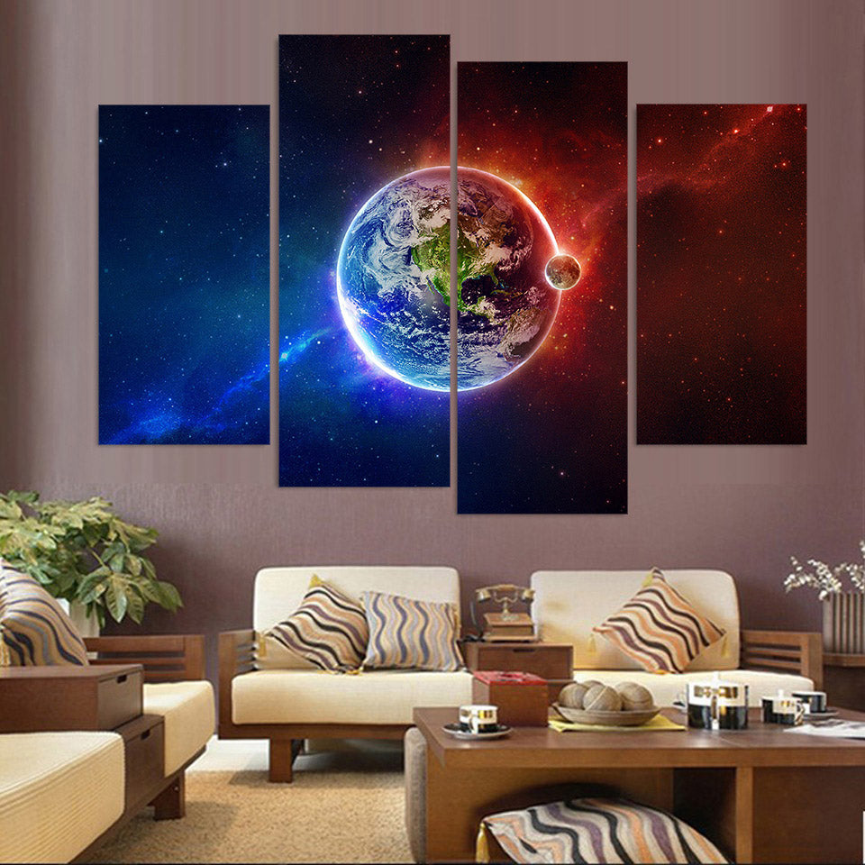4 Piece Canvas Painting Earth Planet Sky HD Printed Art Prints Wall Art Home Decor Poster Pictures Living Room