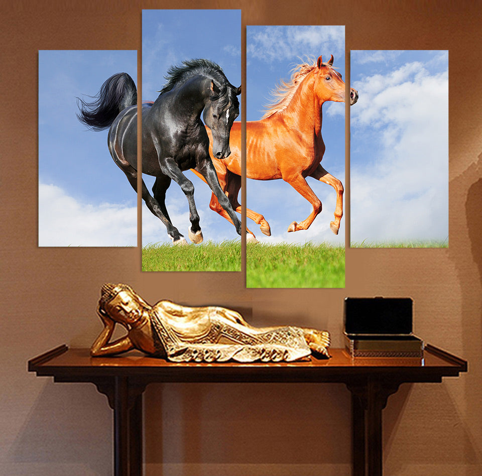4 Panel Canvas Art Painting Black Red Horse Sunshine HD Printed Wall Art Poster Home Decor Picture Living Room