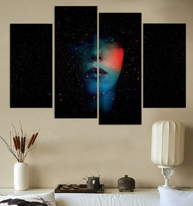 Canvas Painting 4 Piece Art Abstract Face Shiny Dark HD Printed Wall Art Home Decor Poster Picture Living Room