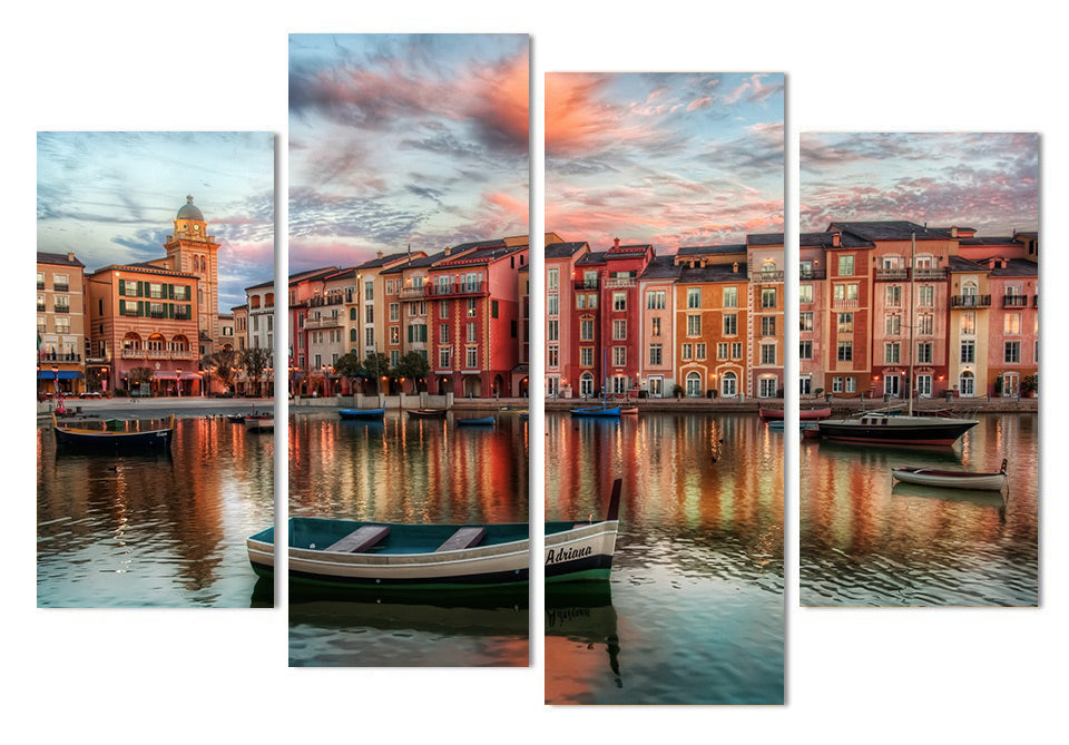 Canvas Painting 4 Piece Art Boats Orlando Buildings HD Printed Home Decor Wall Art Poster Picture Living Room