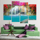 4 Pcs Canvas Art Painting Waterfall Red Leaves HD Printed Wall Art Home Decor Poster Wall Pictures Living Room