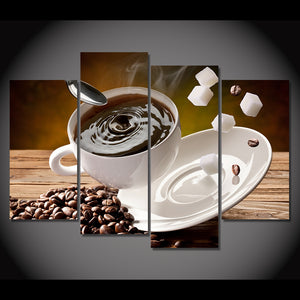 Canvas Painting 4 Piece Art Coffee Sugar Beans Cup Upset HD Printed Home Decor Poster Picture Living Room