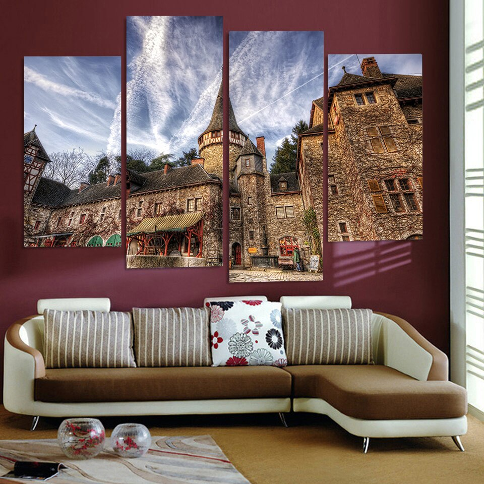 Canvas Painting 4 Piece Canvas Art Romania Castle HD Printed Home Decor Wall Art Poster Picture Living Room