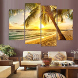 4 Pcs Canvas Art Painting Sunshine Coast Sand HD Printed Wall Art Home Decor Poster Wall Pictures Living Room