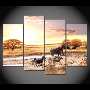 4 Pcs Canvas Painting Grassland Animals HD Printed Art Prints Wall Art Home Decor Poster Pictures Living Room