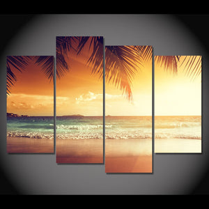 4 Pcs Canvas Art Painting Tropical Sunset Sea HD Printed Wall Art Home Decor Poster Wall Pictures Living Room