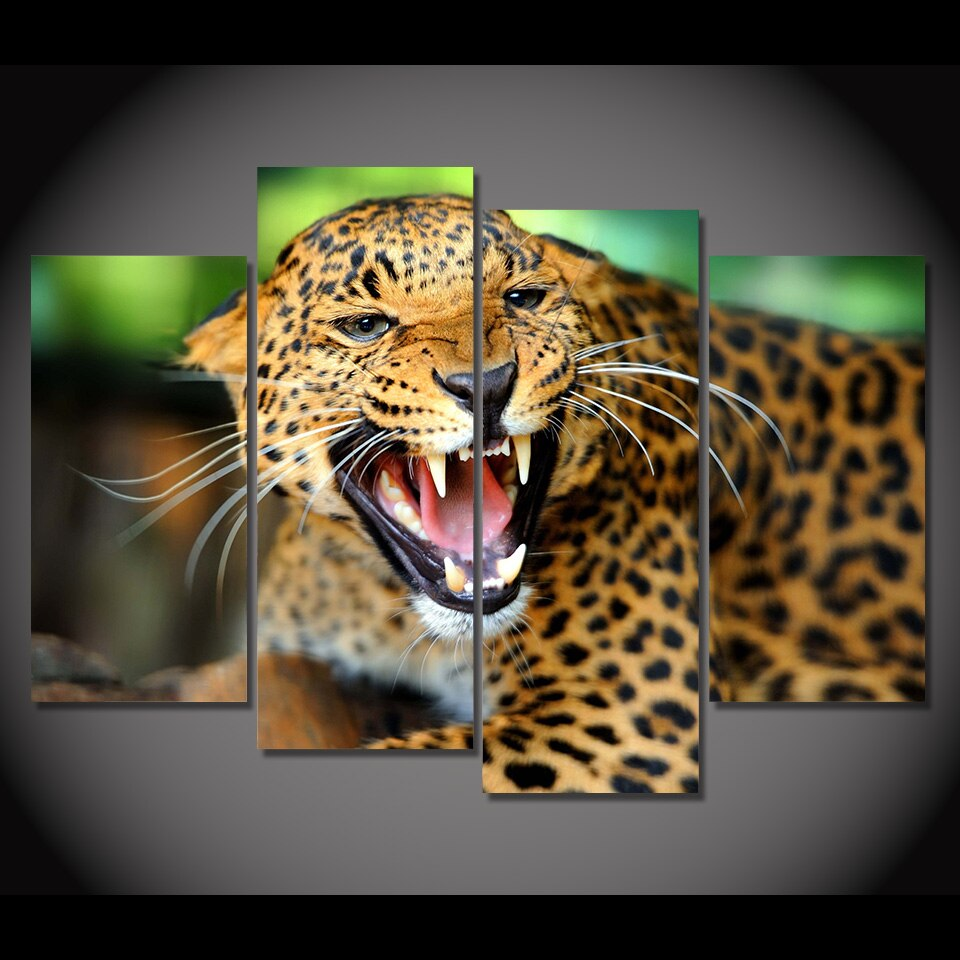 4 Panel Canvas Art Painting Leopard Growl Snarl Rage HD Printed Wall Art Poster Home Decor Picture Living Room