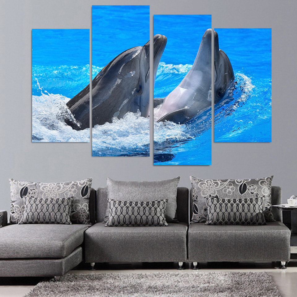 4 Panel Canvas Art Painting Dolphins Paly Spray HD Printed Wall Art Poster Home Decor Living Room