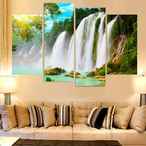 4 Piece Canvas Art Painting Waterfall Spray HD Printed Wall Art Home Decor Poster Wall Pictures Living Room
