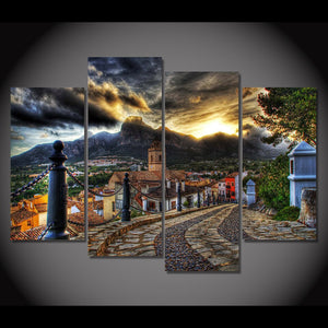 Canvas Painting 4 Piece Art Townlet Street Mountain HD Printed Home Decor Wall Art Poster Picture Living Room