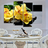 4 Panel Canvas Painting Canvas Art Yellow Orchids Drops HD Printed Wall Art Home Decor Poster Picture Living Room
