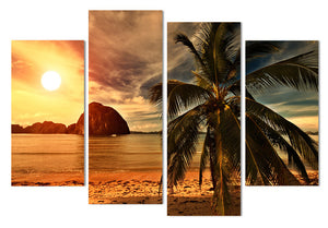 4 Piece Canvas Art Canvas Painting Tropical Palm Tree HD Printed Wall Art Home Decor Poster Wall Pictures