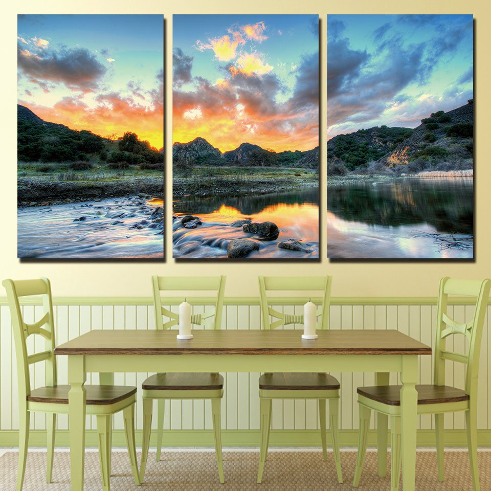 3 Panels Canvas Art Rosy Clouds Sky River Home Decor Wall Art Painting Canvas Prints Pictures Living Room Poster