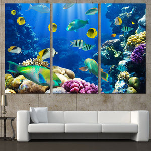 3 Panels Canvas Art Tropical Coral Color Fish Home Decor Wall Art Painting Canvas Prints Picture Living Room Poster