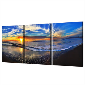 3 Piece Canvas Painting Beach Waves Dusk Clouds HD Poster And Prints Painting Living Room