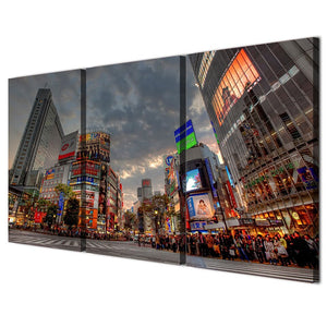 3 Panels Canvas Art Busy Tokyo Street Home Decoration Wall Art Painting Prints Pictures Living Room Poster
