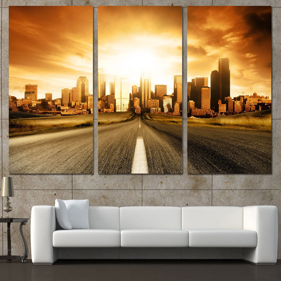 3 Panels Canvas Art Sunrise City Buildings Home Decor Wall Painting Canvas Prints Pictures Living Room Poster