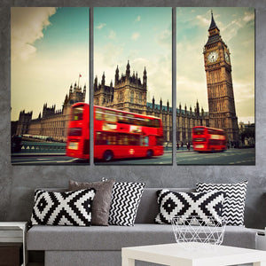 3 Panels Canvas Art Red Bus City Buildings Home Decor Wall Art Painting Canvas Prints Pictures Living Room Poster