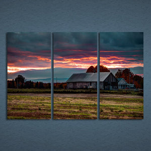 3 Panels Canvas Art Rosy Clouds Farm House Home Decor Wall Art Painting Canvas Prints Pictures Living Room Poster