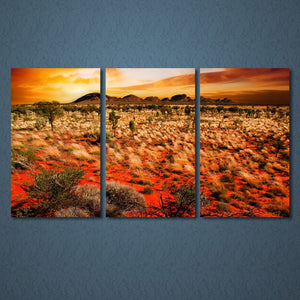 3 Panels Canvas Art Sunset Wildland Nature Home Decor Wall Art Painting Prints Pictures Living Room Poster