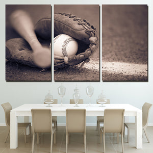 3 Piece Canvas Painting Baseball Glove Bat HD Posters And Prints Canvas Painting Living Room