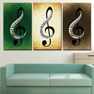 3 Piece Canvas Painting Music Notes HD Posters And Prints Wall Art Canvas Living Room