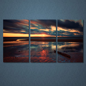 3 Panels Canvas Art Sunset Beach Clouds Home Decoration Wall Art Painting Canvas Prints Pictures Living Room Poster
