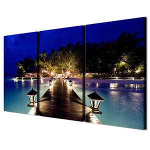 3 Panels Canvas Art Coast Night Palms Home Decoration Wall Art Painting Canvas Prints Pictures Living Room Poster