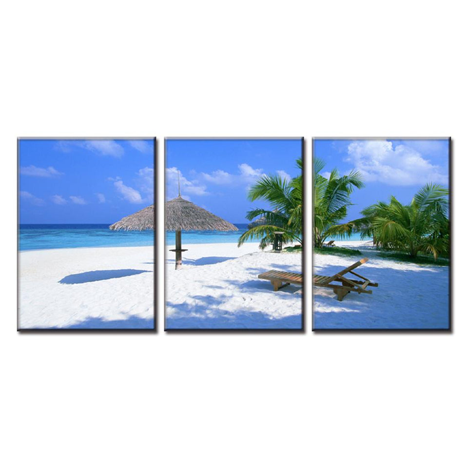 Home Decor 3 Panels Canvas Painting Wall Art  Living Room Beach Picture Landscape Beach And Palm