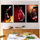 3 Pieces Modern Spray Canvas Painting Pour Red Wine Group Oil Paintings Dining Room Wine
