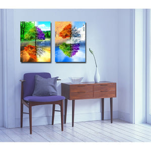 Spray Paintings 2 Panels Paintings Four Seasons Trees Modern Canvas Art Wall Pictures Living Room