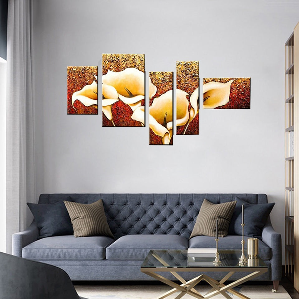 5 Pcs Hand-painted Autumn Golden Lily Flower Oil Painting On Canvas Wall Decor Pictures Art Decoration