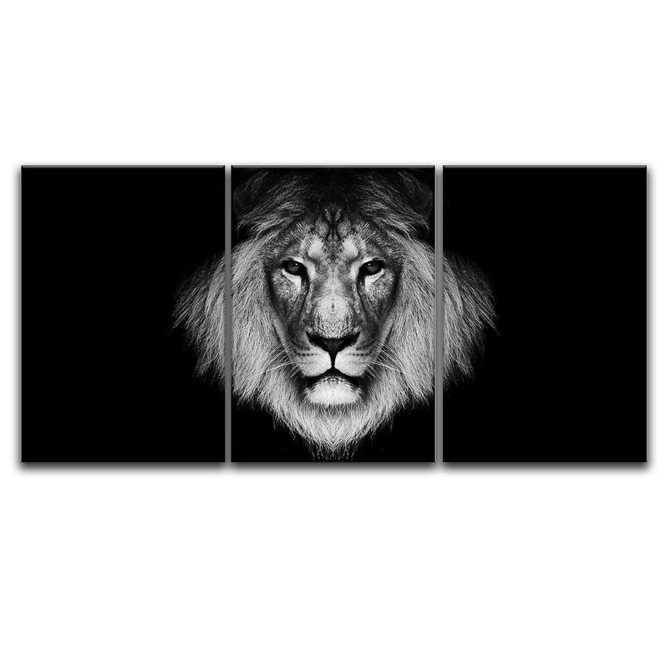 3 Panel Canvas Wall Art A Lion Head Black Background Print Gallery Wrap Modern Home Decor
