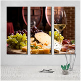 3 Pieces Modern Still Life Flat Barrel Wine Painting Print on Canvas Grape And Wine