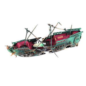 Sunk Wreck Boat Aquarium Ornament Ship Sailing Boat Destroyer Air Split Shipwreck