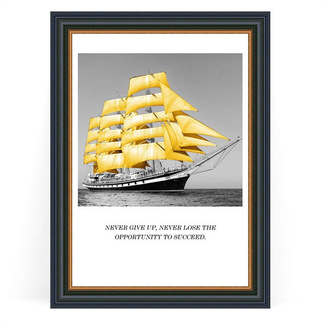 Modern Wall Art Nordic Glod Boat Picture Motivational Quotes Art Posters HD Prints Canvas Painting Children Room