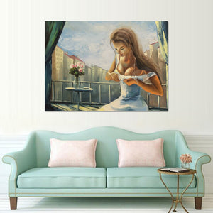 1 Panel Abstract Artistic Girl Flower Oil Painting Canvas Poster Print Modern Wall Picture Living Room Decor