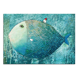 Modern 1 Panel Abstract Artistic Fish House Oil Painting on Canvas Poster Print Wall Picture Living Room Printed Artwork