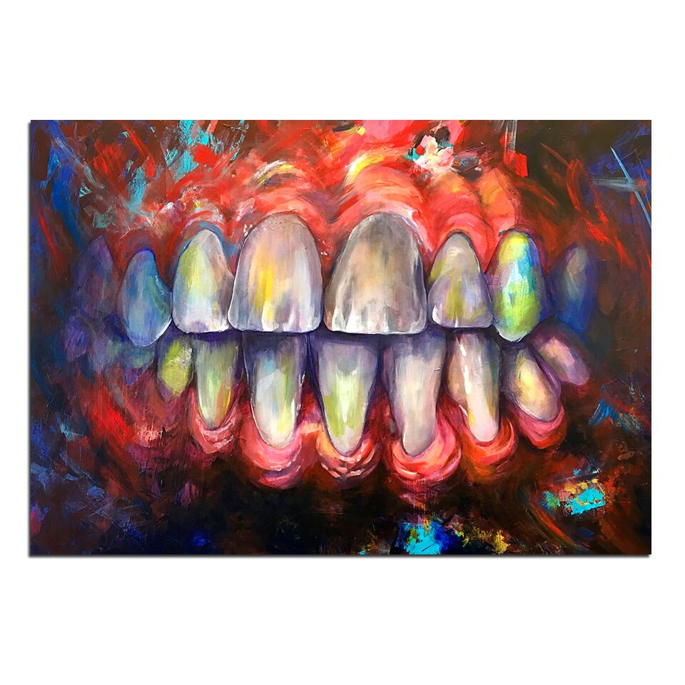 Wall Art Canvas Painting 1 Panel Abatract Poser and Print Artwork Tooth Color Painting Wall Picture Home Decoration