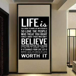 "Wall Art HD Print 1 Piece Canvas Art Quotes Home Decoration Painting ""Life is Worth Believe it ""Print Poster"