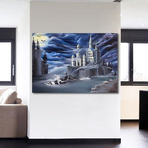 1 Panel Abstract Artistic Moon Castle Oil Painting on Canvas Poster Print Modern Wall Picture Living Room Cudros Decor