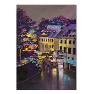 1 Panel Town River Waterwheel At Night Painting Canvas Wall Art Picture Living Room Canvas Print Painting Canvas